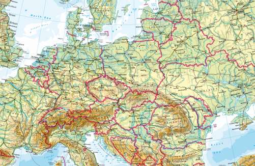 Maps   Central Europe     Physical map   Diercke International Atlas Diercke Karte Central Europe     Physical map