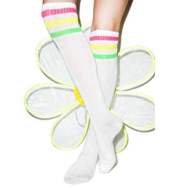 Turn Neon Knee High Socks   Dolls Kill