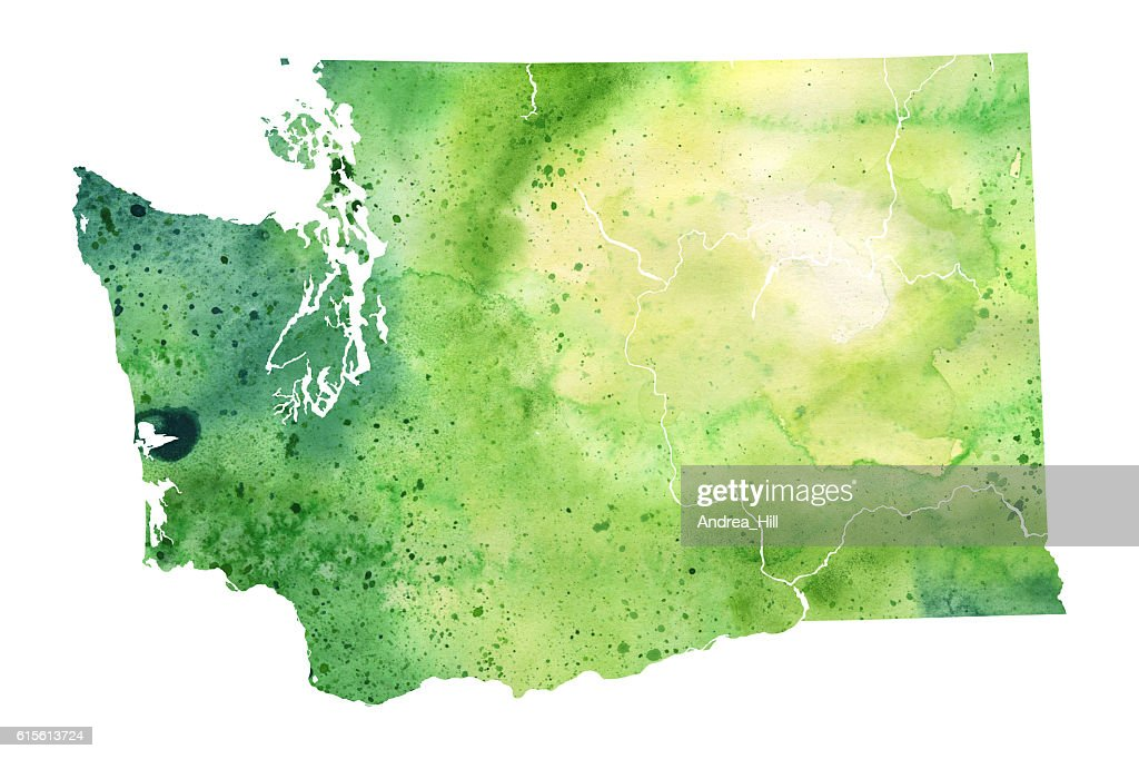 Map Of Washington State With Watercolor Texture Raster Illustration     Map of Washington State with Watercolor Texture   Raster Illustration    Stock Illustration