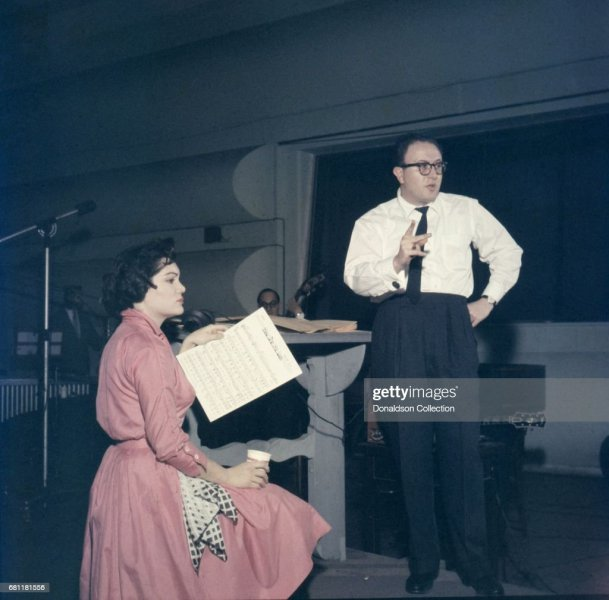 Connie Francis Recording in the Studio wthi Ray Ellis Pictures     Entertainer Connie Francis records in the studio with producer Ray Ellis at  MGM in circa 1959