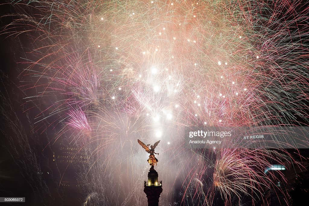 The World Rings in the New Year 2016 Album photos   Getty Images Fireworks are seen in the Angel de la Independencia  Monument to  Independence  in the