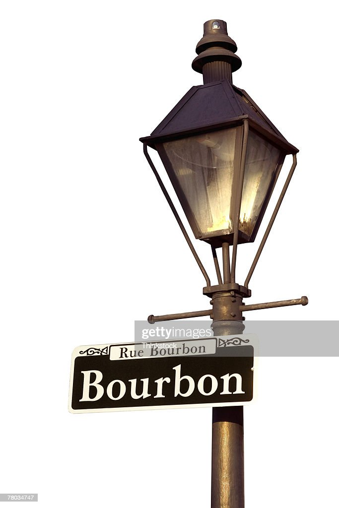 Lamppost With Bourbon Street Sign New Orleans Louisiana ...