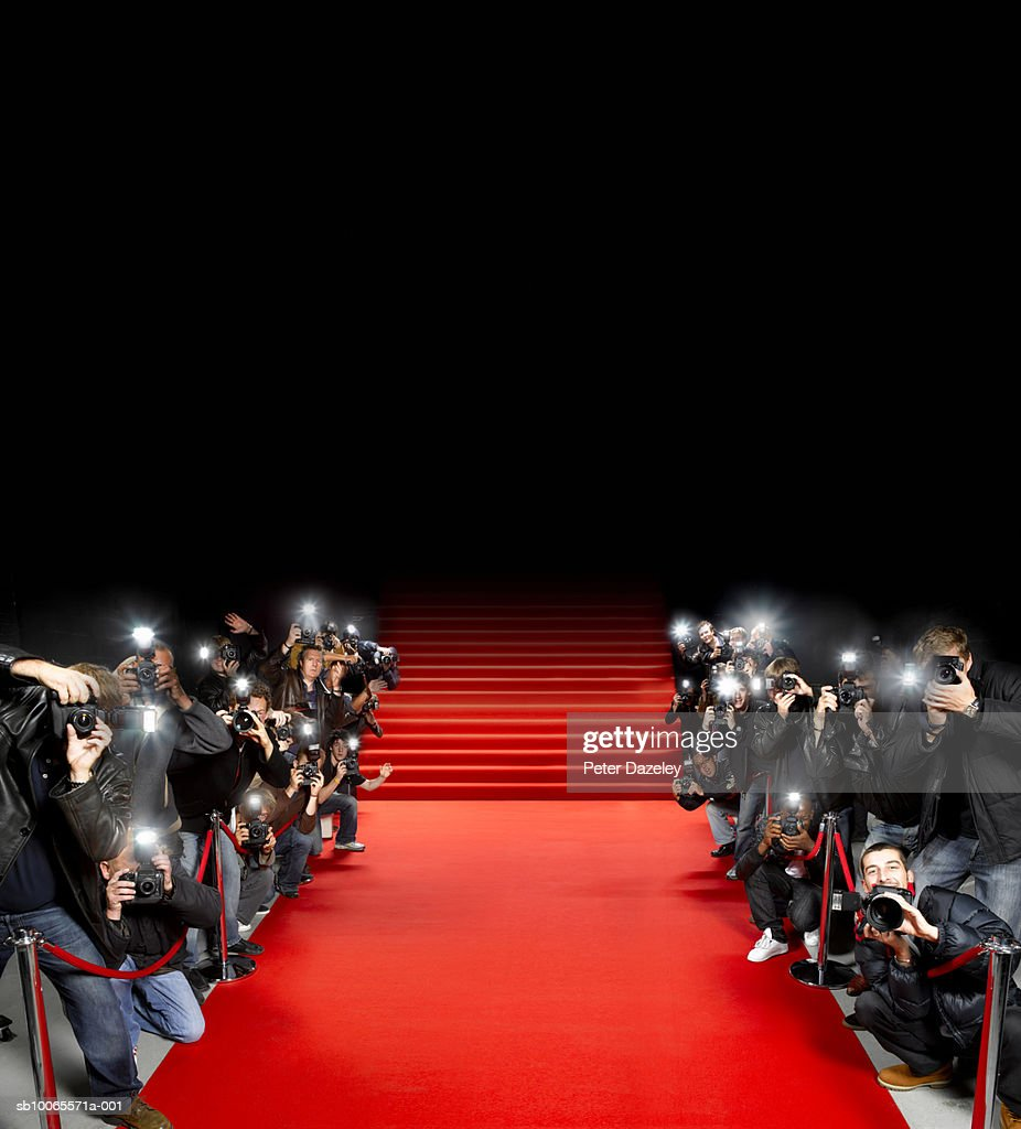 Red Carpet Stock Photos and Pictures   Getty Images Paparazzi photographers along red carpet