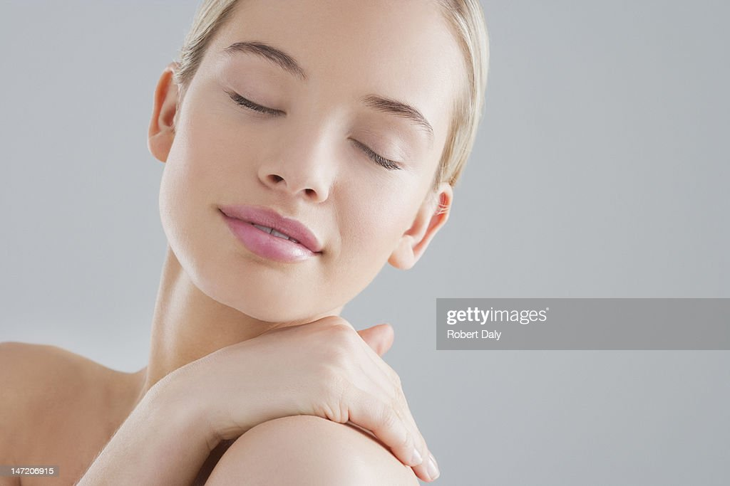 Portrait Of Smiling Woman With Eyes Closed High-Res Stock ...