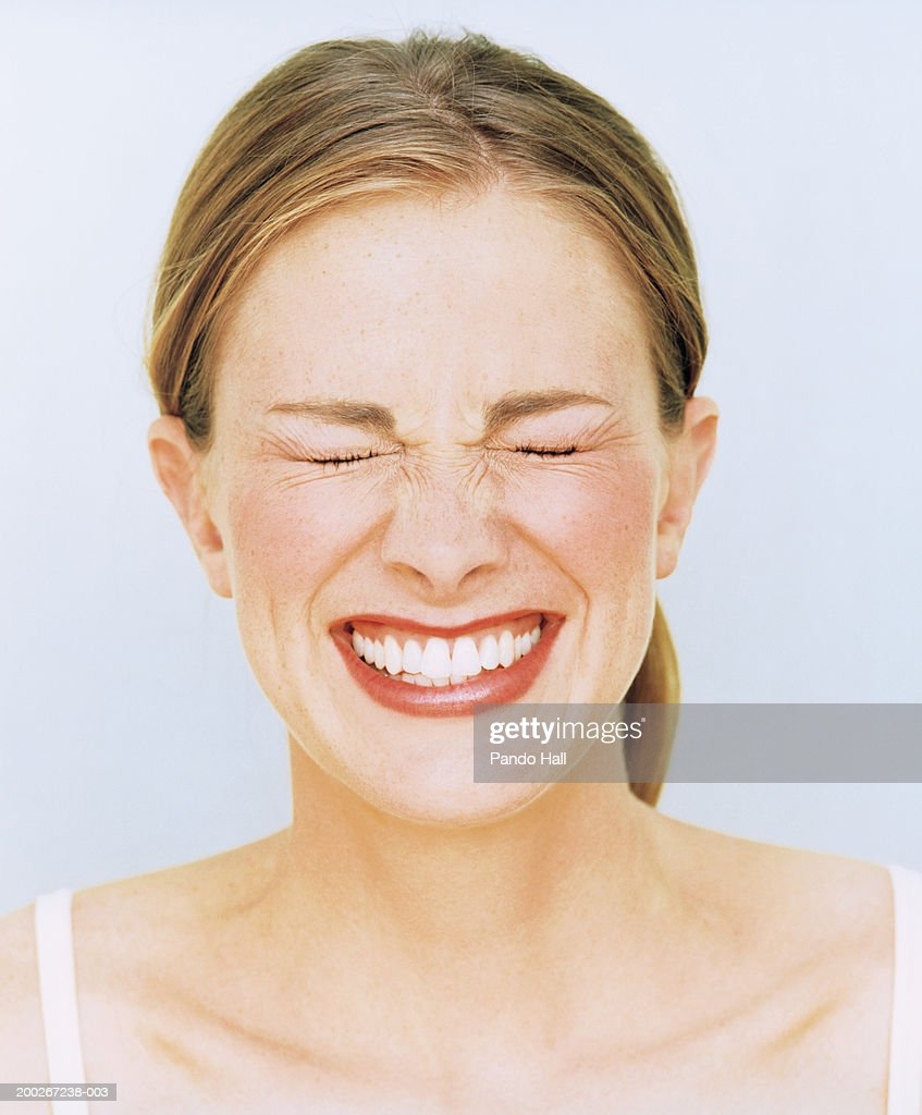 Young Woman Smiling Eyes Closed Closeup Stock Photo ...