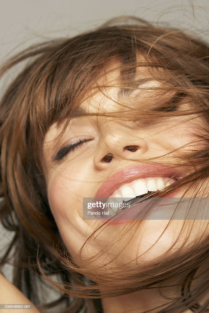 Young Woman With Eyes Closed Smiling Closeup Stock Photo ...