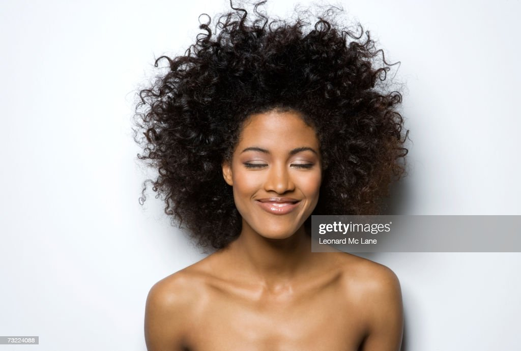 Young Woman With Eyes Closed Smiling Closeup High-Res ...