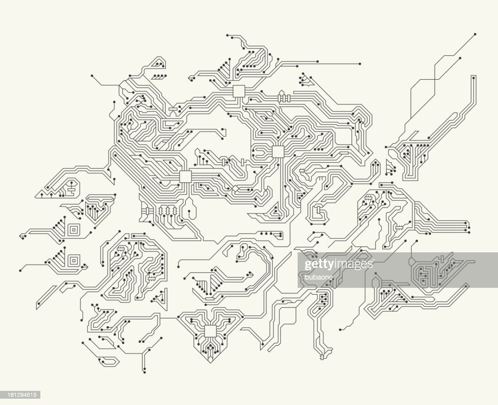 Abstract circuit board black and white technology background vector