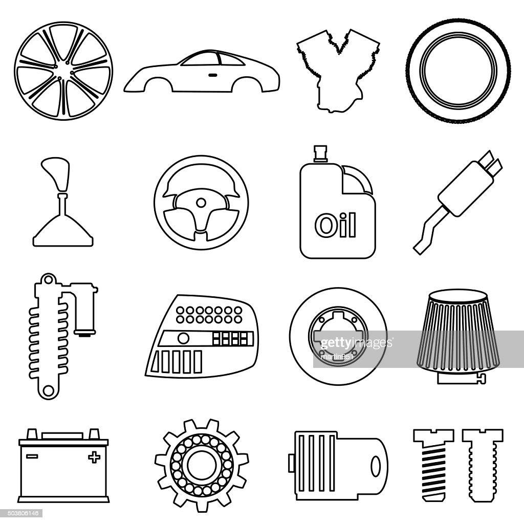 Car parts store simple black outline icons set eps10 vector art