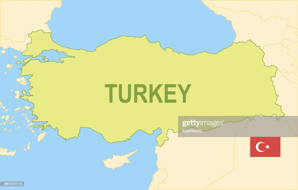Flat Map Of Turkey With Flag Vector Art   Getty Images Flat map of Turkey with flag   Vector Art