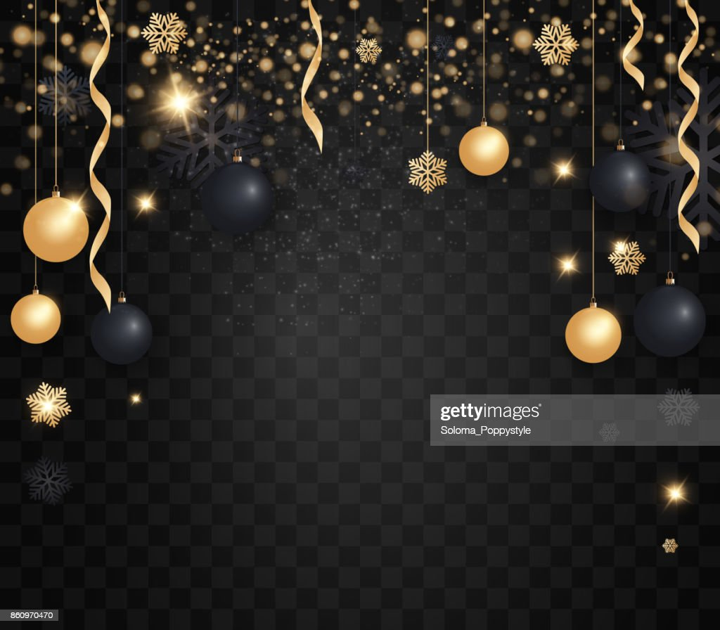 Layout Happy New Year 2018 Golden And Black Color Space For Text     Layout Happy New Year 2018 golden and black color space for text Christmas  balls  gold