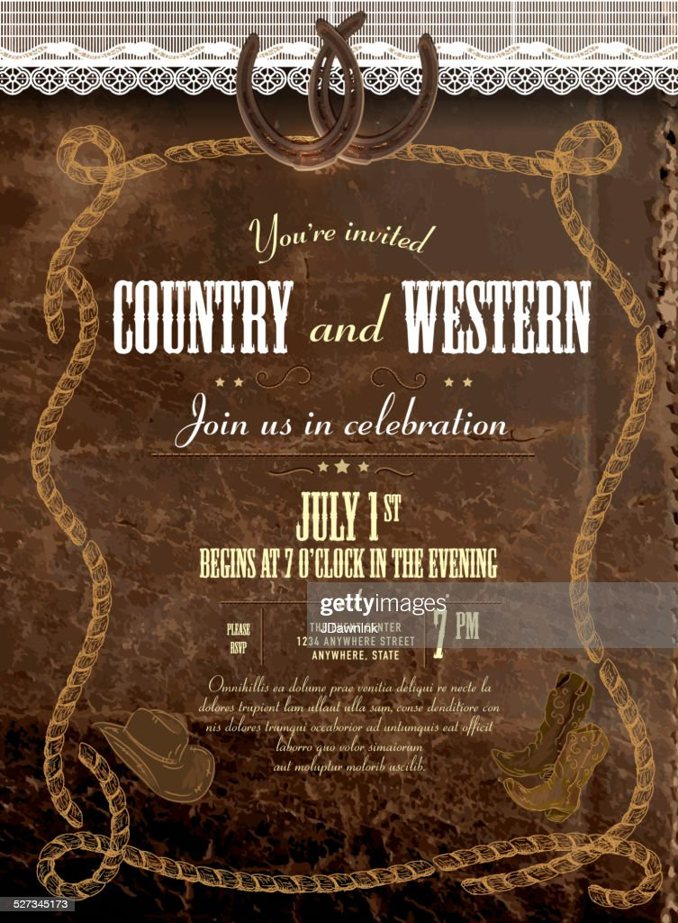 Pele E Renda Country E Western Convite De Modelos De