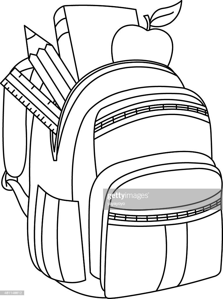Outlined School Backpack stock vector | Thinkstock
