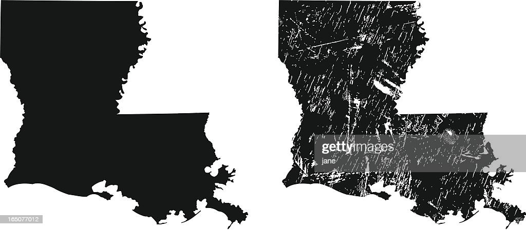 Silhouettes Of Two Louisiana Maps Vector Art | Getty Images