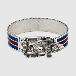 b4516685318 Gucci Garden Bracelet In Silver In Sterling Silver With Blue And Red
