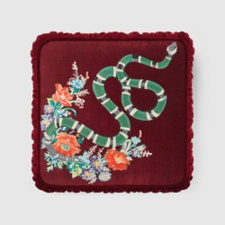 e9926f405a67 Velvet Cushion With Kingsnake Embroidery Gucci Cushions