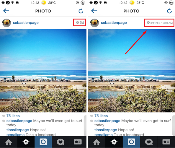 How to view the exact timestamp of a photo or video in Instagram