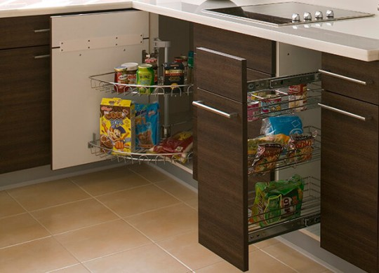 9 Secret Places That Can Add Storage To Your Small Kitchen Small Kitchen Storage  Pullout Shelving