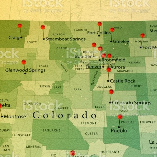HD Decor Images » Colorado Map Square Cities Straight Pin Vintage Stock Photo   More     Colorado Map Square Cities Straight Pin Vintage Stock Photo   More Pictures  of Aurora   Colorado   iStock