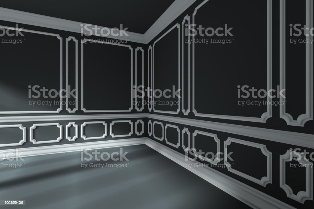 Empty Black Room Corner With White Classic Style Decor On Walls     Empty black room corner with white classic style decor on walls  royalty free stock photo