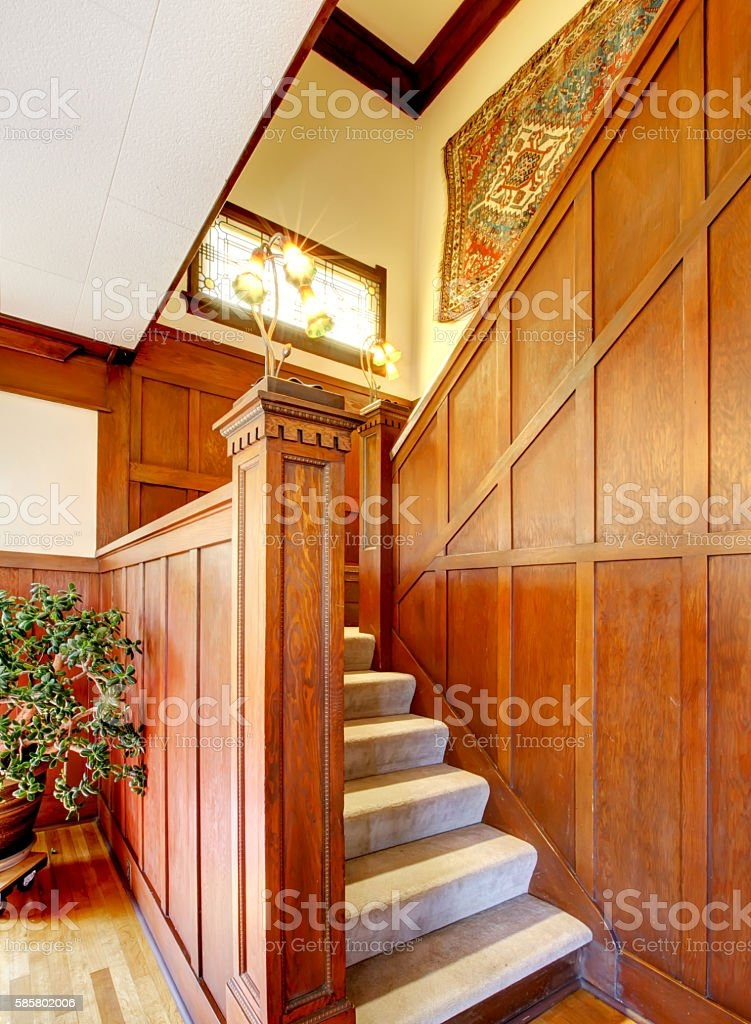 Hallway Interior With Wooden Plank Trim View Of Carpet Stairs   Carpet For Stairs And Hallway   Hardwood   Stylish   Upstairs   Popular   Hollywood Style