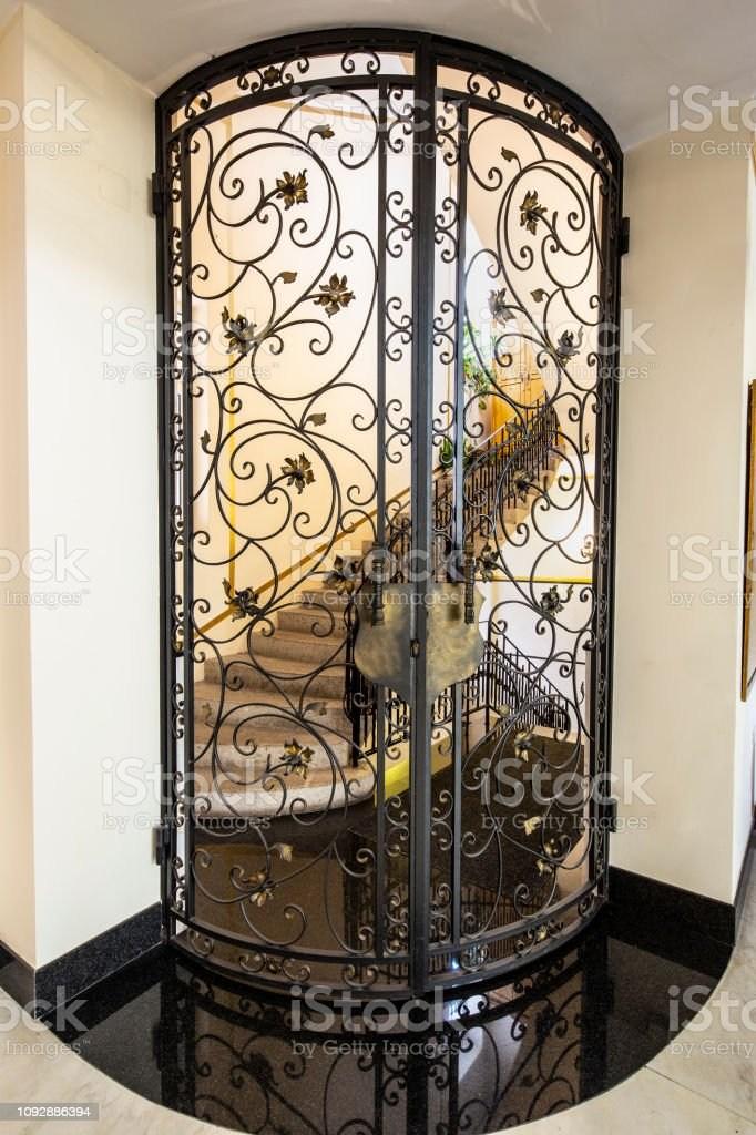 Handmade Wrought Iron Railing Luxury Lobby Interior Stock Photo | Wrought Iron Railing Interior | Building Iron | Stair | Gallery | Victorian | Outdoor