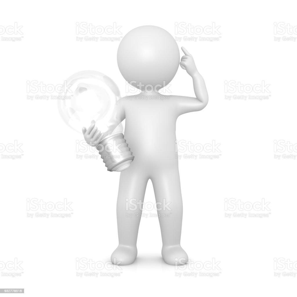 Idea Man Brainstormin Solution Person Light Bulb Sign