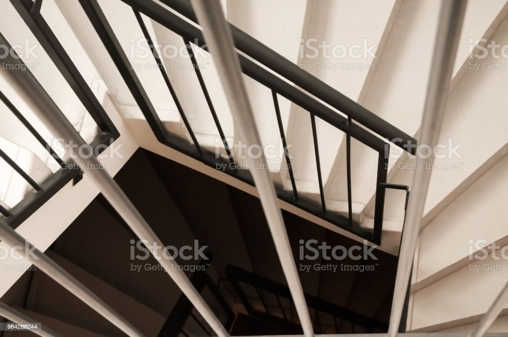 Looking Down On A Modern Black And White Spiral Staircase Stock   Black Metal Spiral Staircase   Spiral Stairs   Cat Spiral   Arke   Abandoned   Circle Metal