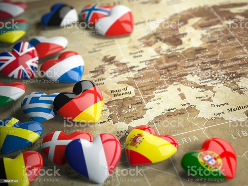 Map Of Europe And Hearts With Flags European Countries Stock Photo     Map of Europe and hearts with flags european countries  royalty free stock  photo