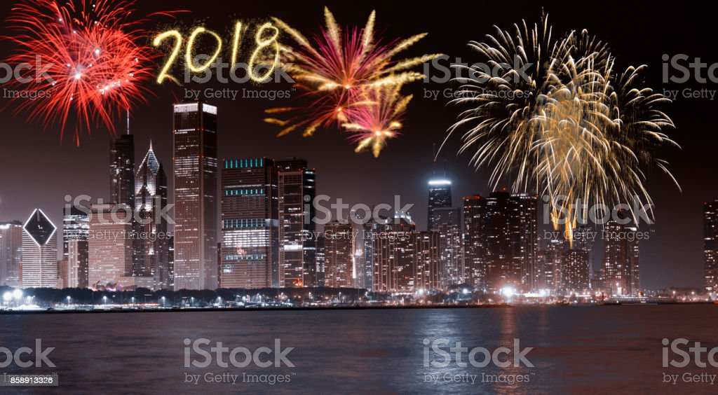 New Year 2018 Fireworks Over Chicago Illinois Usa Stock Photo   More     New Year 2018 fireworks over Chicago  Illinois  USA royalty free stock photo