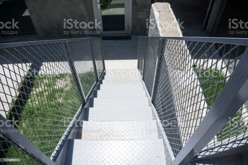 Outdoor Iron Staircase With Stainless Steel Handrail Iron Stairs   Ss Handrails For Stairs   Building   Glass   Horizontal   Flat Steel   Mild Steel Handrail