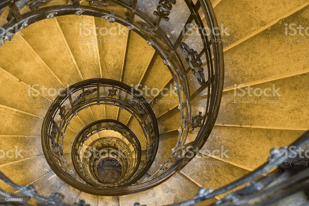 Overhead Shot Of Spiral Staircase With Wrought Iron Railings Stock | Wrought Iron Spiral Staircase | Old | Plant Stand | Stair Case | Transitional | Narrow