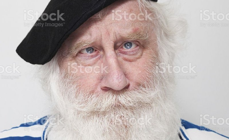 ba61e76ec Squint Eyes Old Man With Beard Beret And Striped Tshirt Stock