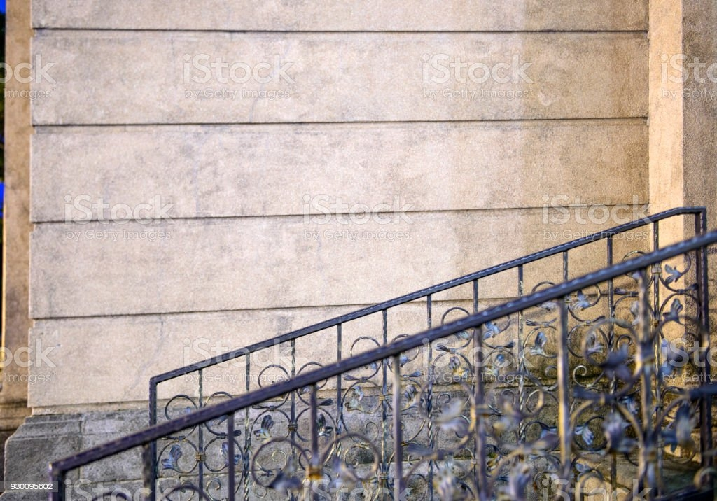 Steps And Wrought Iron Railing Balustrade Stock Photo Download   Wrought Iron Handrail For Steps   3 Step   Grill   Forged Iron   Cast Iron   Wood Wall Mounted Stair