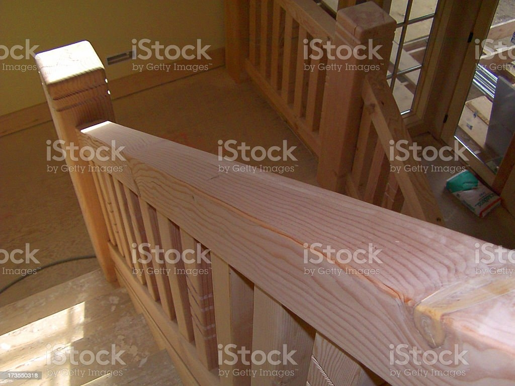 Wood Stair Railing Stock Photo Download Image Now Istock   Horizontal Wood Stair Railing   Wrought Iron   Cherry Wood   Steampunk   Rustic   Wooden