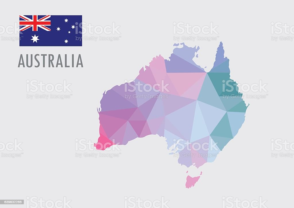 Australia World Map With Pastel Polygonal Style Stock Vector Art     Australia world map with pastel polygonal style royalty free australia  world map with pastel polygonal