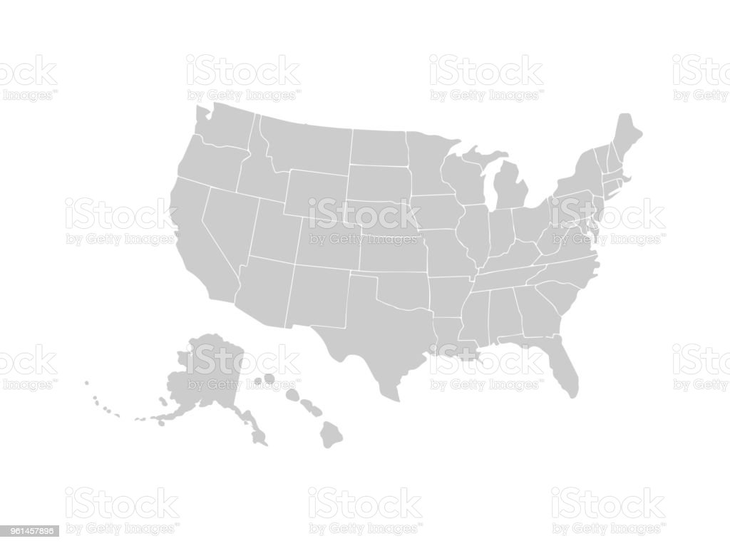 Blank Similar Usa Map Isolated On White