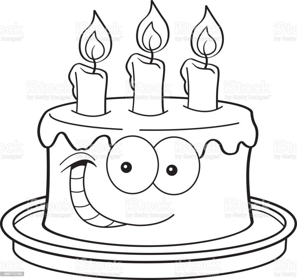 Cartoon Birthday Cake With Candles Stock Vector Art Amp More