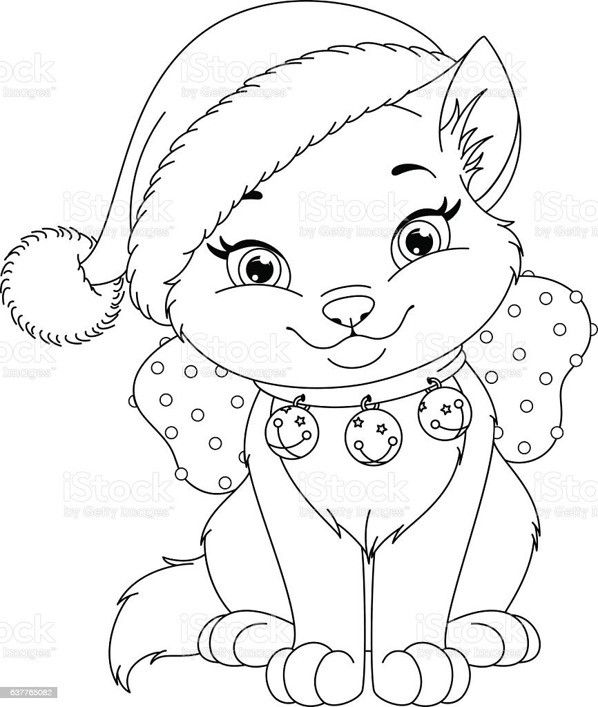 Christmas Cat Coloring Page Stock Illustration - Download ...