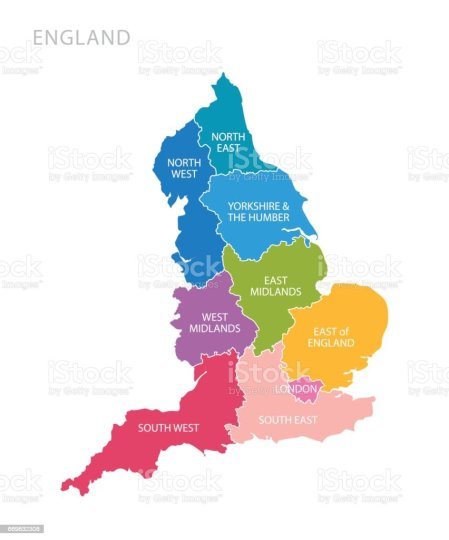 Colorful Map Of England With Counties Uk Stock Vector Art   More     Colorful map of England with counties UK royalty free colorful map of  england with counties