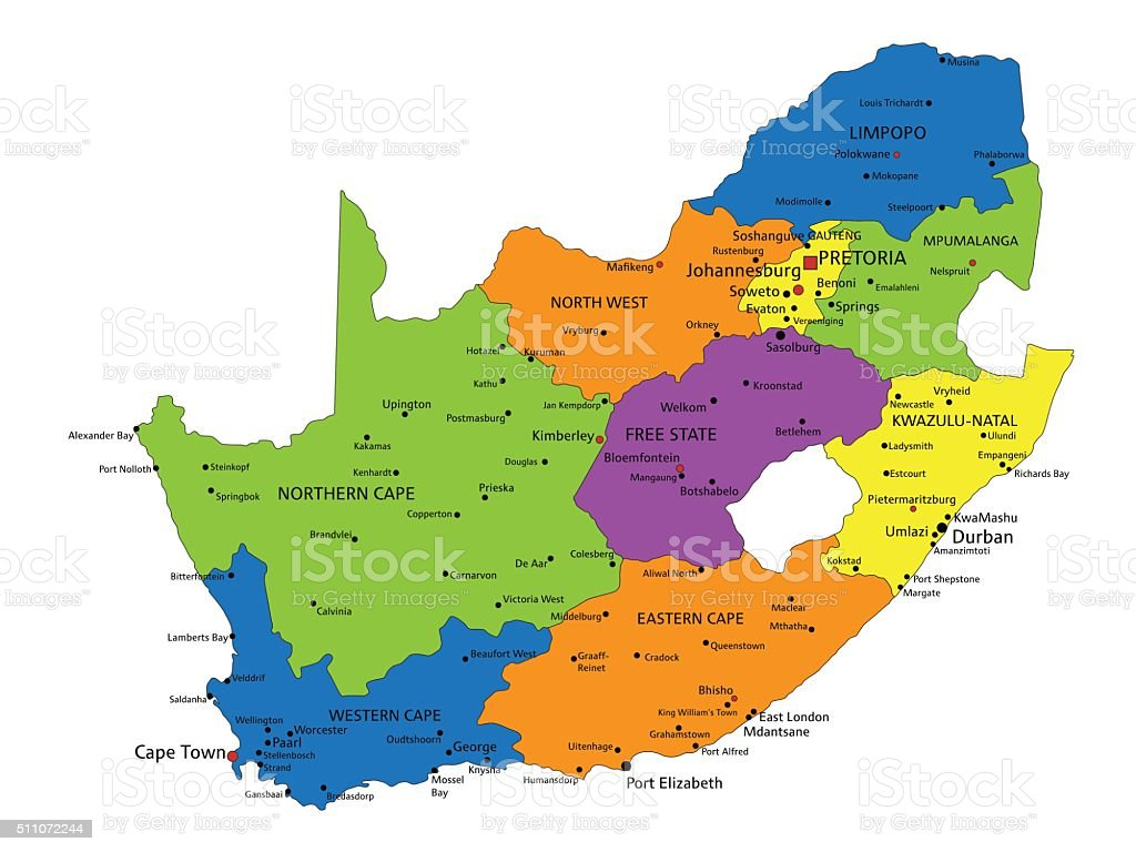 Colorful South Africa Political Map With Clearly Labeled Separated     Colorful South Africa political map with clearly labeled  separated layers   royalty free colorful