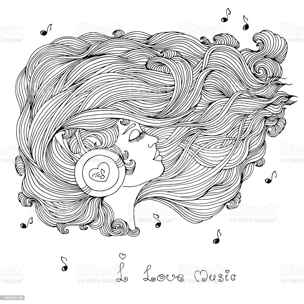 Coloring Page Girl With Wavy Hair Listening Music In Headphones