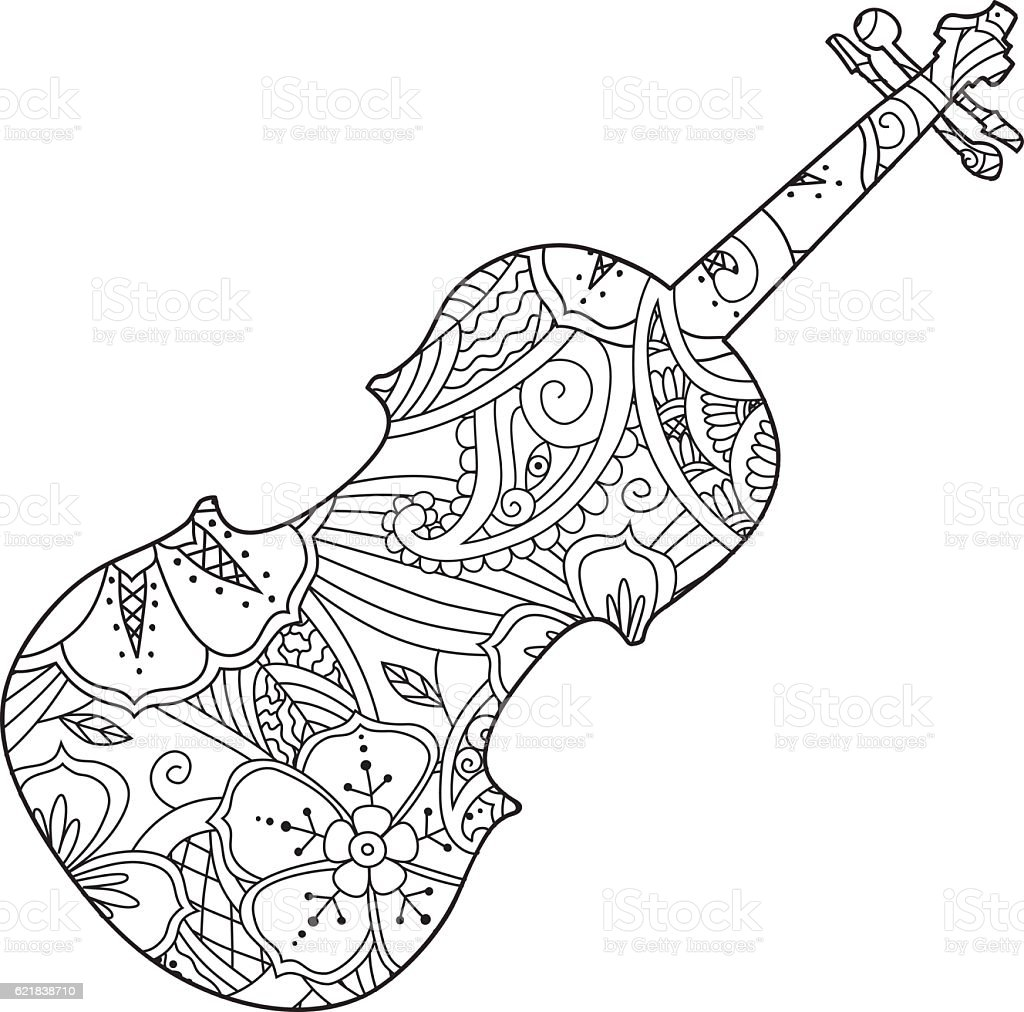 Coloring Page With Ornamental Violin Isolated On White Background