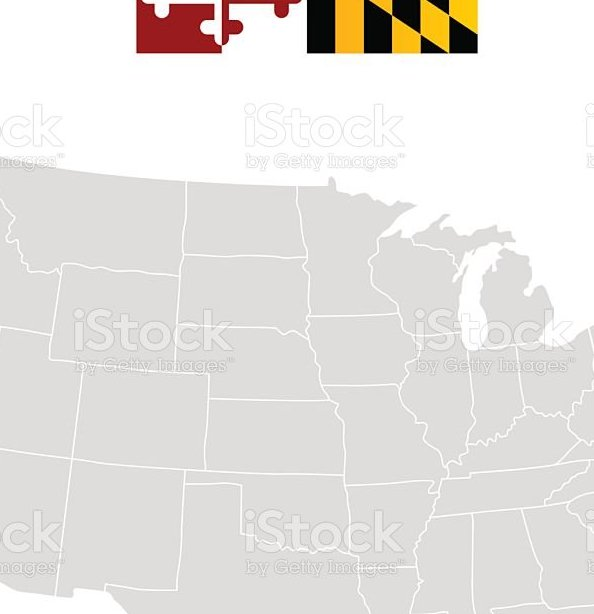 HD Decor Images » Flag Of Maryland And Location On Us Map Stock Vector Art   More     Flag of Maryland and location on U S  map royalty free flag of maryland and  location
