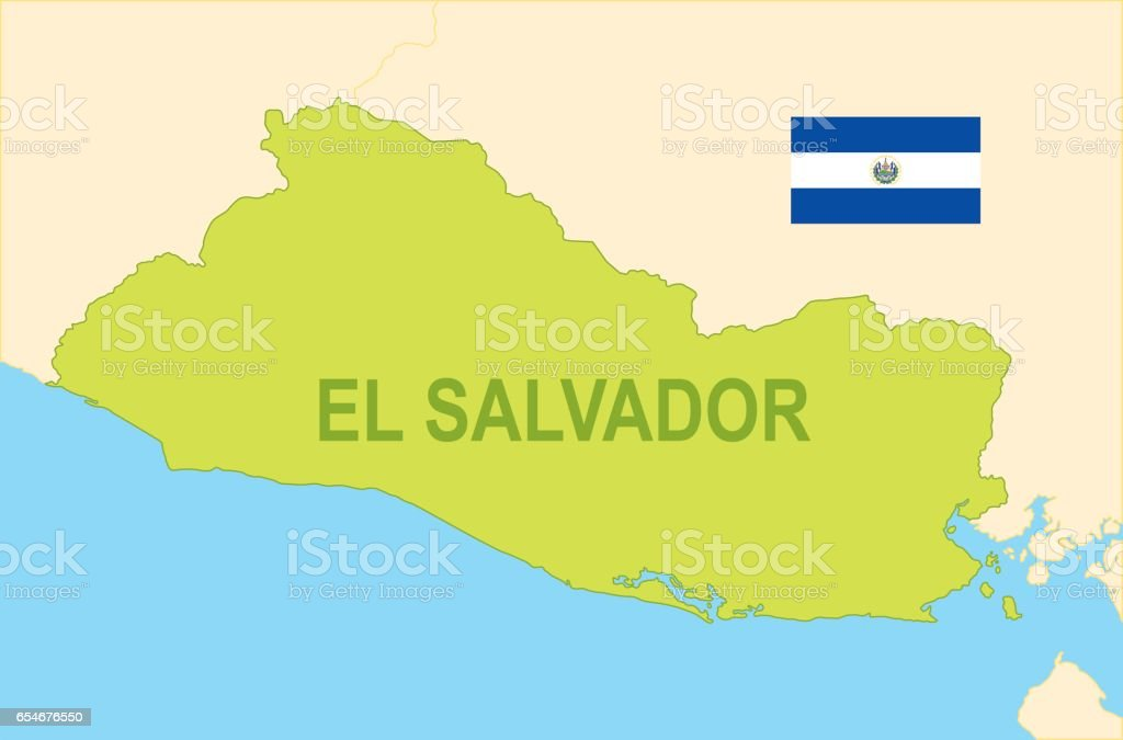 Flat Map Of El Salvador With Flag Stock Vector Art   More Images of     Flat map of El Salvador with flag royalty free flat map of el salvador with