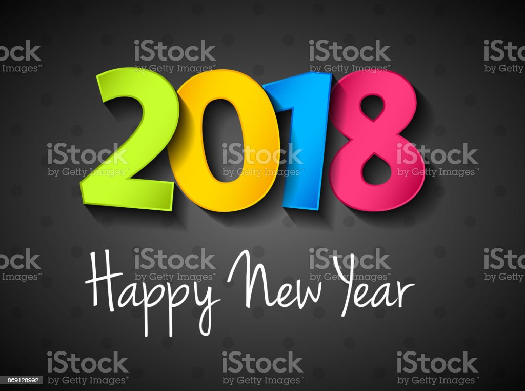 Happy New Year 2018 Poster With Greeting Vector Stock Vector Art     Happy New Year 2018   poster with greeting  Vector  royalty free happy new