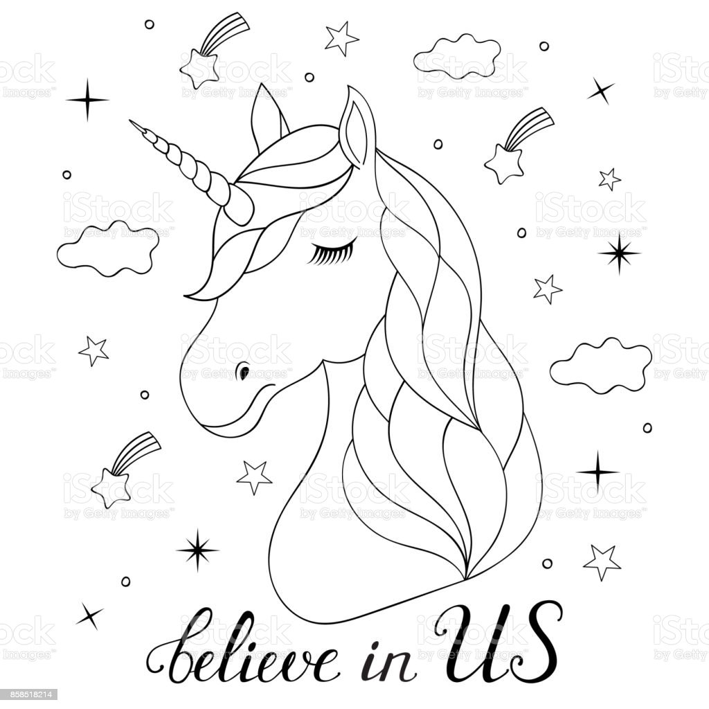 Kawaii Unicorn Emoji Coloring Pages