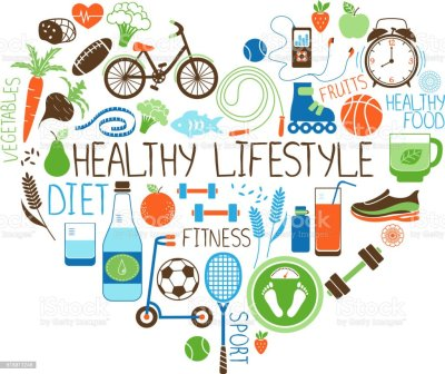 Healthy Lifestyle Diet And Fitness Heart Sign Stock Vector ...