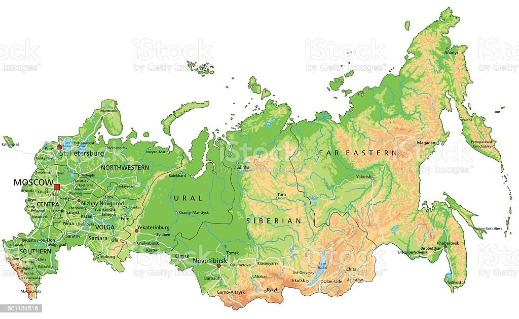 Royalty Free Ural Mountains Clip Art  Vector Images   Illustrations     High detailed Russia physical map with labeling  vector art illustration