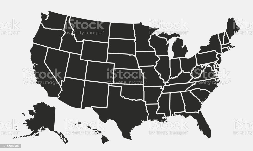 Usa Map With States Isolated On A White Background United States Of     USA map with states isolated on a white background  United States of  America map